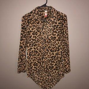 No Boundaries Cheetah Print Button Down Blouse